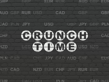 crunch: Business concept: Painted white text Crunch Time on Black Brick wall background with Currency