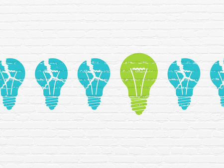broken strategy: Business concept: row of Painted blue light bulb icons around green light bulb icon on White Brick wall background