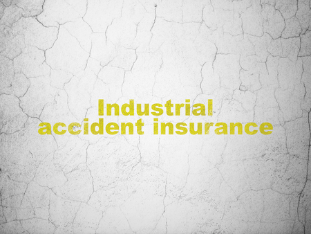 industrial accident: Insurance concept: Yellow Industrial Accident Insurance on textured concrete wall background