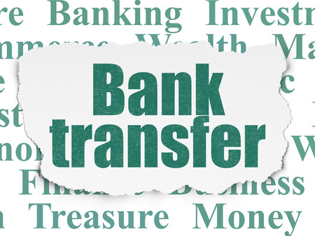 bank transfer: Money concept: Painted green text Bank Transfer on Torn Paper background with  Tag Cloud Stock Photo