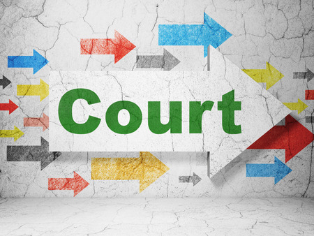 concrete court: Law concept:  arrow with Court on grunge textured concrete wall background, 3D rendering