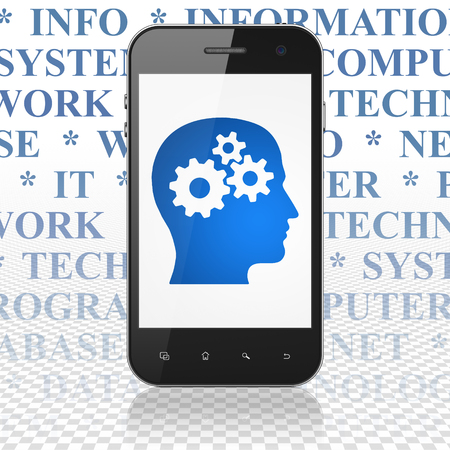 head tag: Data concept: Smartphone with  blue Head With Gears icon on display,  Tag Cloud background, 3D rendering