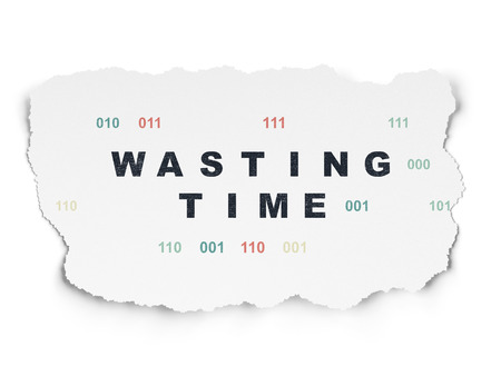wasting: Time concept: Painted black text Wasting Time on Torn Paper background with  Binary Code Stock Photo