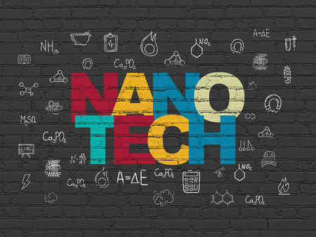 nanotech: Science concept: Painted multicolor text Nanotech on Black Brick wall background with  Hand Drawn Science Icons Stock Photo