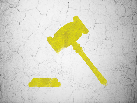 concrete court: Law concept: Yellow Gavel on textured concrete wall background Stock Photo