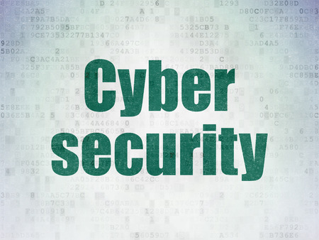 passkey: Security concept: Painted green word Cyber Security on Digital Data Paper background