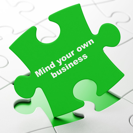 business mind: Finance concept: Mind Your own Business on Green puzzle pieces background, 3D rendering