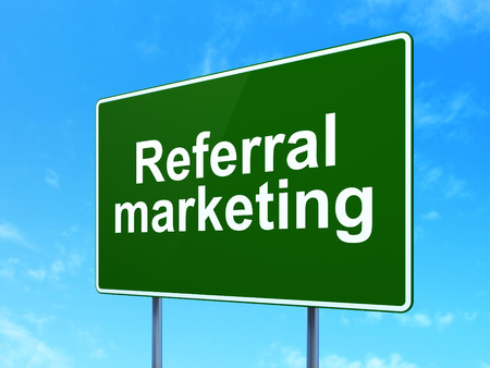 referral marketing: Advertising concept: Referral Marketing on green road highway sign, clear blue sky background, 3D rendering