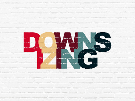 downsizing: Finance concept: Painted multicolor text Downsizing on White Brick wall background