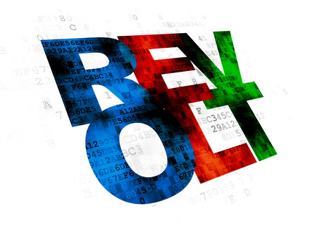 revolt: Political concept: Pixelated multicolor text Revolt on Digital background Stock Photo