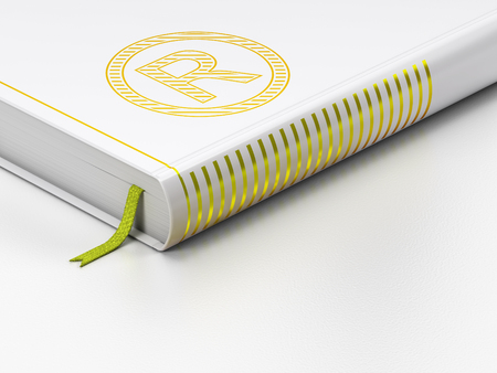 r regulation: Law concept: closed book with Gold Registered icon on floor, white background, 3D rendering