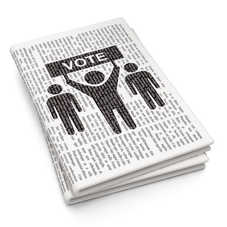 electorate: Politics concept: Pixelated black Election Campaign icon on Newspaper background, 3D rendering