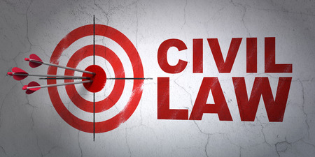 hitting a wall: Success law concept: arrows hitting the center of target, Red Civil Law on wall background, 3D rendering