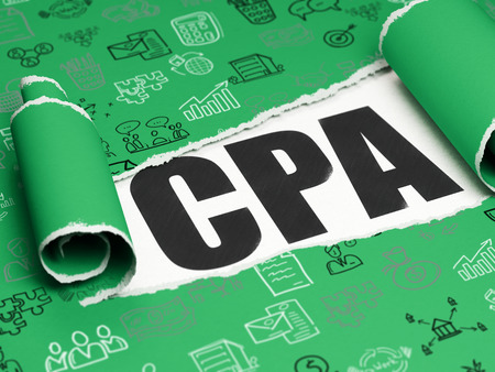 cpa: Business concept: black text CPA under the curled piece of Green torn paper with  Hand Drawn Business Icons, 3D rendering