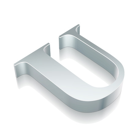 Alphabet collection: 3d metallic character U with reflection on White background