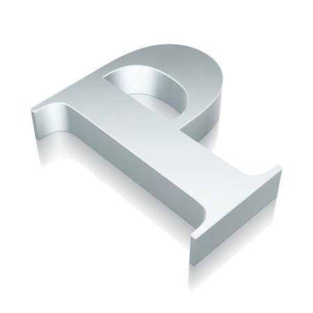 Alphabet collection: 3d metallic character P with reflection on White background