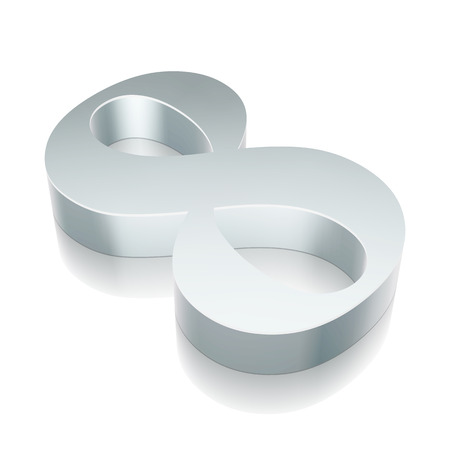 3d metallic number 8 (eight) with reflection on White background Vettoriali