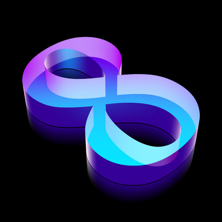 glass reflection: 3d neon glowing number 8 (eight) made of glass with reflection on Black background Illustration
