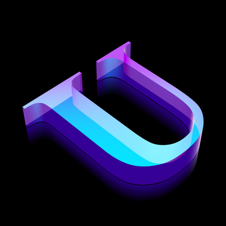 glass reflection: Alphabet collection: 3d neon glowing character U made of glass with reflection on Black background