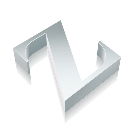 Alphabet collection: 3d metallic character Z with reflection on White background