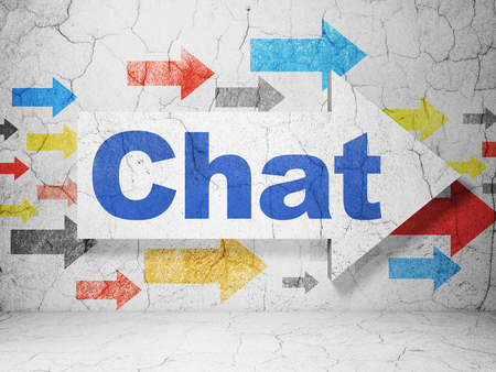 chat room: Web design concept:  arrow with Chat on grunge textured concrete wall background, 3D rendering