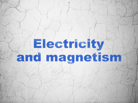 magnetismo: Science concept: Blue Electricity And Magnetism on textured concrete wall background
