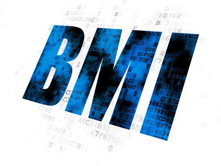 BMI: Healthcare concept: Pixelated blue text BMI on Digital background