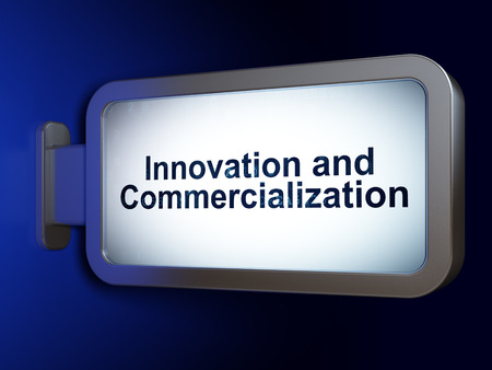 commercialization: Science concept: Innovation And Commercialization on advertising billboard background, 3D rendering Stock Photo