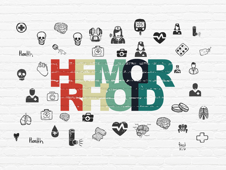hemorrhoid: Health concept: Painted multicolor text Hemorrhoid on White Brick wall background with  Hand Drawn Medicine Icons