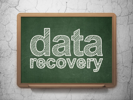 data recovery: Data concept: text Data Recovery on Green chalkboard on grunge wall background, 3D rendering