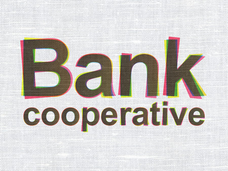 cooperativismo: concepto de moneda: CMYK Banco Cooperativo sobre tela de lino de textura de fondo Foto de archivo
