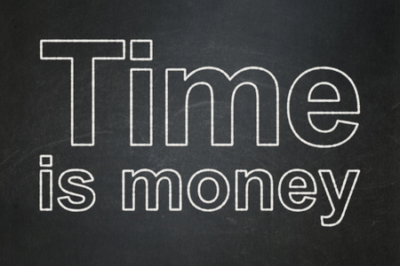 cronologia: Timeline concept: text Time Is money on Black chalkboard background