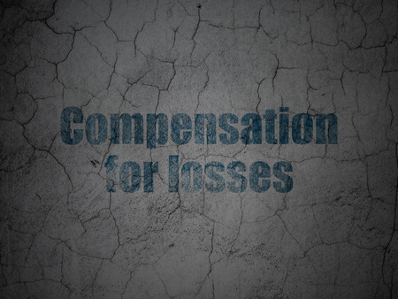 compensation: Money concept: Blue Compensation For losses on grunge textured concrete wall background