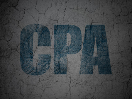 cpa: Business concept: Blue CPA on grunge textured concrete wall background
