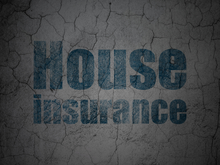 insured: Insurance concept: Blue House Insurance on grunge textured concrete wall background