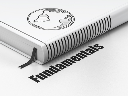 fundamentals: Science concept: closed book with Black Globe icon and text Fundamentals on floor, white background, 3D rendering