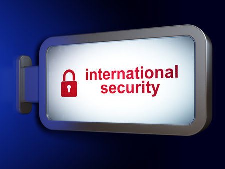 international security: Safety concept: International Security and Closed Padlock on advertising billboard background, 3D rendering