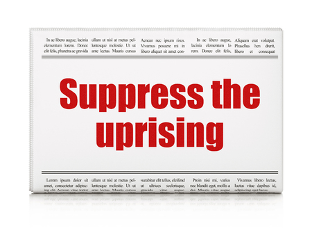 suppress: Political concept: newspaper headline Suppress The Uprising on White background, 3D rendering