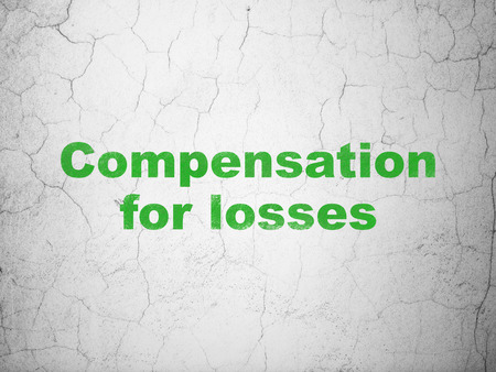 compensation: Currency concept: Green Compensation For losses on textured concrete wall background Stock Photo