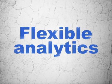 flexible: Finance concept: Blue Flexible Analytics on textured concrete wall background Stock Photo