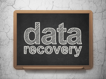 data recovery: Data concept: text Data Recovery on Black chalkboard on grunge wall background, 3D rendering Stock Photo