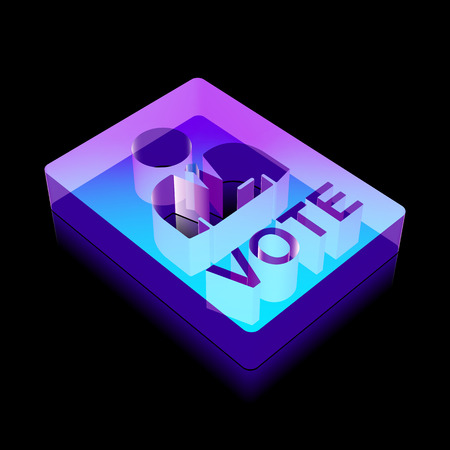 election night: Politics icon: 3d neon glowing Ballot made of glass with reflection on Black background