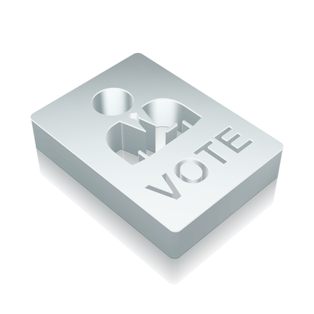dictatorship: Politics icon: 3d metallic Ballot with reflection on White background Illustration