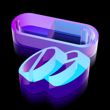 glass reflection: Medicine icon: 3d neon glowing Pills made of glass with reflection on Black background