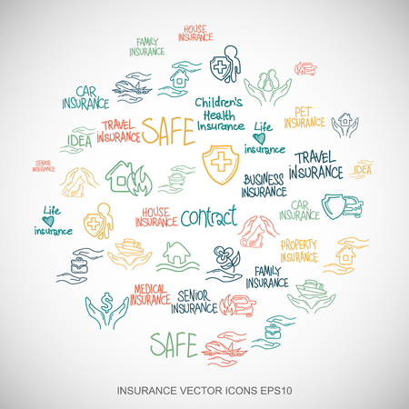 family policy: Multicolor doodles flat Hand Drawn Insurance Icons set In A Circle on White background.