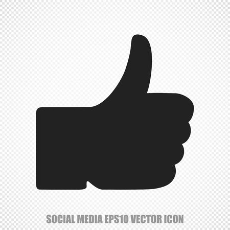microblog: The universal icon on the social media theme: Black Thumb Up. Modern flat design.