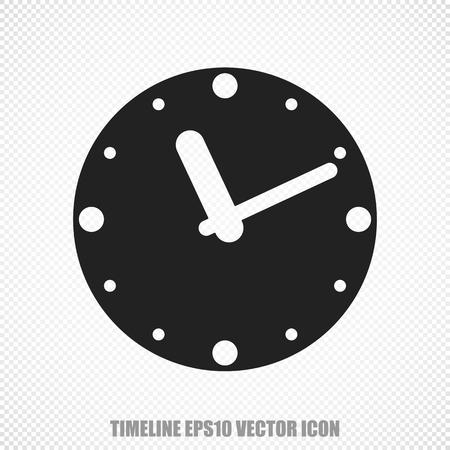 cronologia: El icono universal sobre el tema puntual: el reloj Negro. Moderno diseño plano.