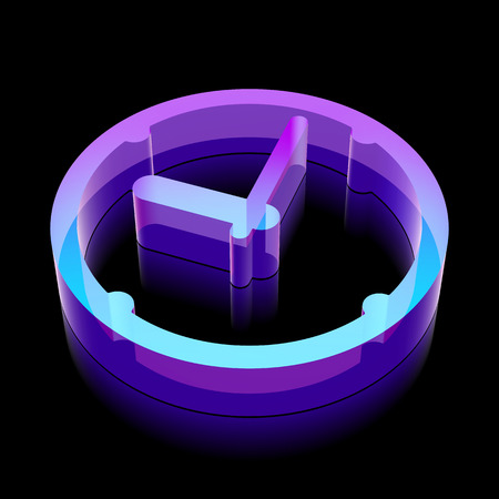 glass reflection: Time icon: 3d neon glowing Clock made of glass with reflection on Black background