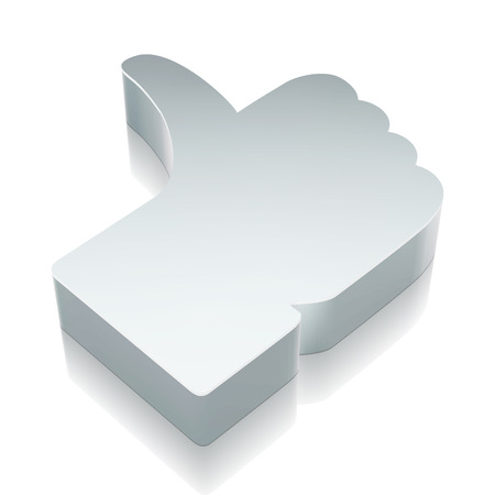 microblog: Social network icon: 3d metallic Thumb Up with reflection on White background