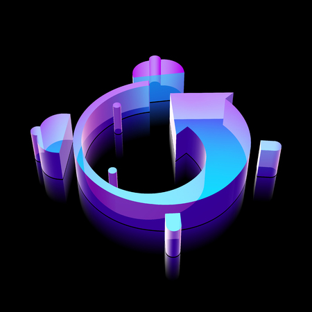 glass reflection: Timeline icon: 3d neon glowing Alarm Clock made of glass with reflection on Black background Illustration